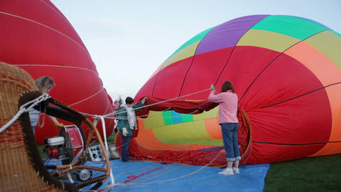 Inflating a hot air balloon Stock Video Footage