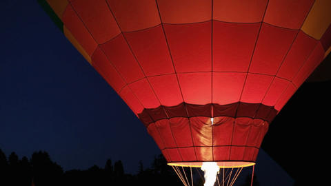 Hot Air Balloon Night Glow Stock Video Footage