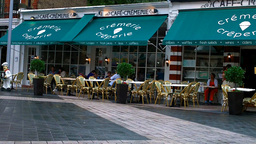 French Cafe in London Stock Video Footage