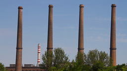 Industrial View 04 factory chimneys Stock Video Footage