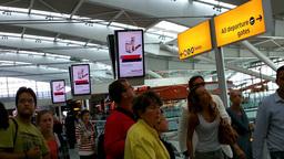 London Heathrow Airport Terminal 5 02 handheld Stock Video Footage