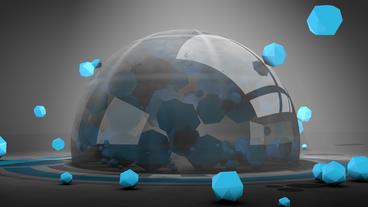 4k sci-fi ribbon surround glass metal tech digital ball & float circle Footage