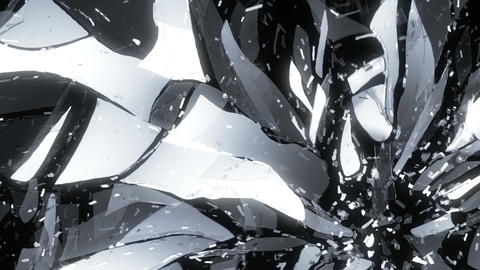 4K Glass shattered and broken in slow motion. Alph Animation