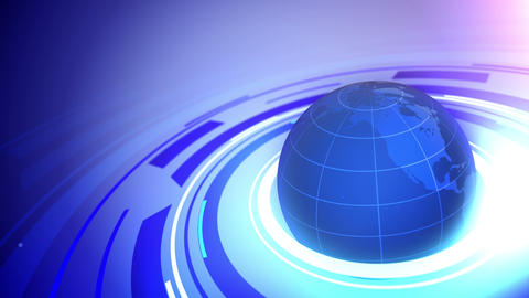 Globe on blue business background Animation
