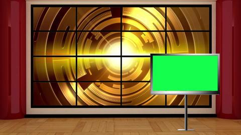 News TV Studio Set 04 Virtual Green Screen Backgro stock footage