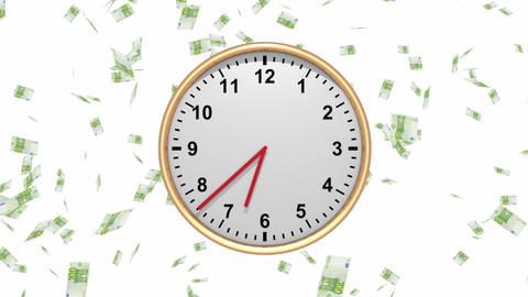Time is Money - Clock with Falling Euros - HD loop Animation