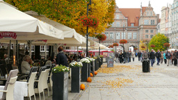 Gdansk, Poland. Restaurant In The Old Town stock footage