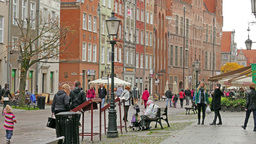 Gdansk, Poland. The Long Market and town hall Live Action