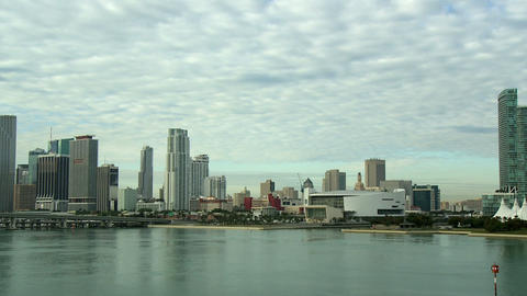 Pan of the skyline of Miami Footage