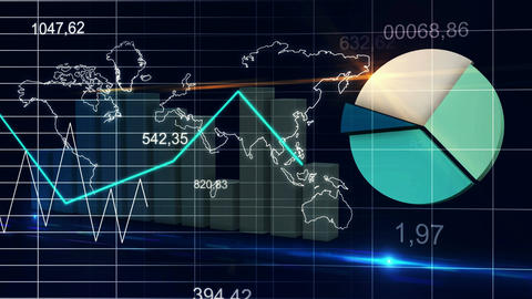 World Map Statistic Data Graph Dark Blue Loop Fina Animation