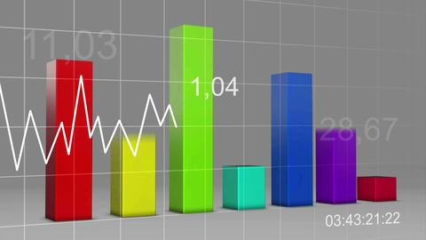 Multi Color Chart Bar Statistic 3D Loop - 4K Ultra Animation