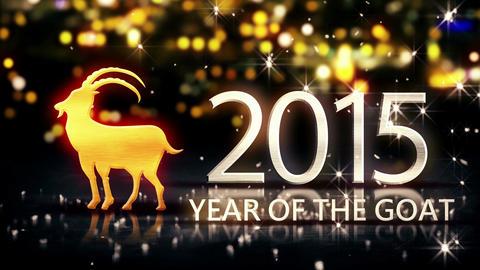 Year of The Goat 2015 Yellow Night Beautiful Bokeh Stock Video Footage
