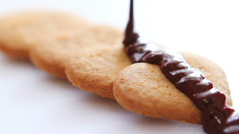 Chocolate on biscuits 1 Footage