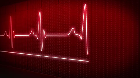 EKG electrocardiogram pulse trace red Animation