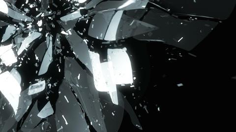 4K Glass broken or shattered slow motion. Alpha Animation