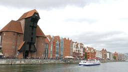 Gdansk, Poland. The Motlawa River stock footage