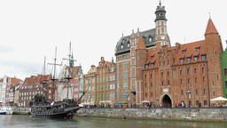Gdansk, Poland. The Long Riverside promenade Footage