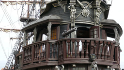 The old wooden galleon ship. Pirate ship Live Action