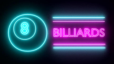 Billiards pool neon sign lights logo text glowing Animation