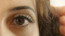 Vintage girl eye fear hand violence 1 ECU CC Footage
