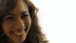 Vintage girl silhouette candid smile CU CC Footage