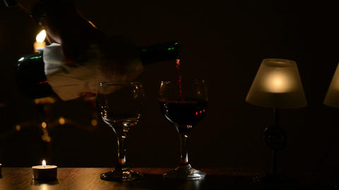 Pouring wine in a glass Footage