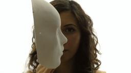 Vintage girl silhouette mask enigma CU CC Footage