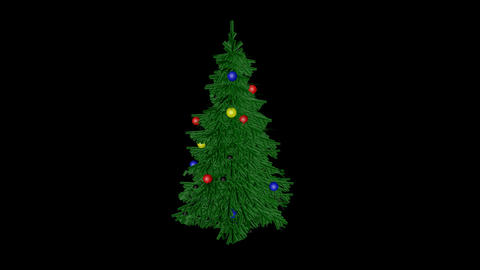 3 D xmas tree rotating loop alpha Footage