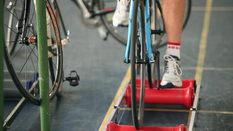 Man Who To Twist Pedal stock footage