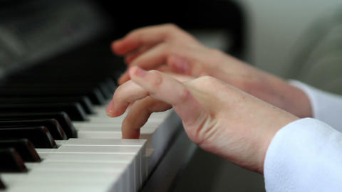 Girl Playing Piano Close Up stock footage