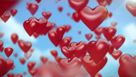 Heart Shaped Ballons Flying 1 Animation