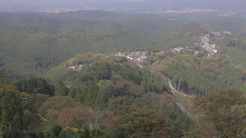 Aerial View - Zoom Out Top Of Yoshino Mountain stock footage
