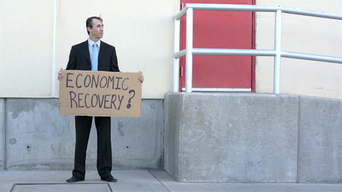 Businessman Economic Recovery Sign Live Action
