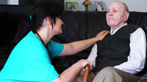 Senior Man Talking With Nurse 1 stock footage