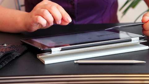 Shopping Online Using Tablet Computer 2 stock footage