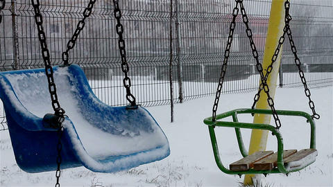 Swings In Winter Park stock footage
