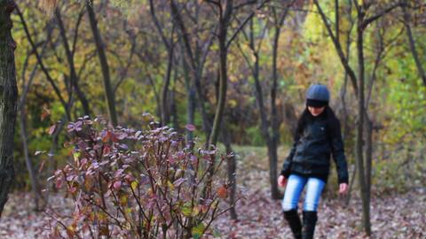 Teenager walking through the woods Footage