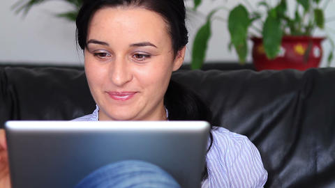 Woman using digital tablet pc 2 Footage