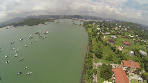 Aerial view of Bridge of the Americas across The P Footage