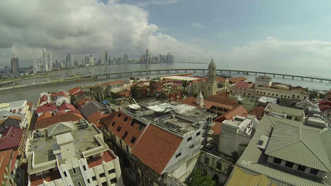 Aerial View Of Casco Viejo, San Felipe, Panama stock footage