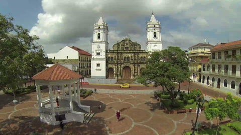UNESCO World Heritage Site, Panama Cathedral, San  stock footage