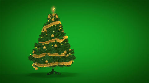 Gold Christmas Tree On Green stock footage