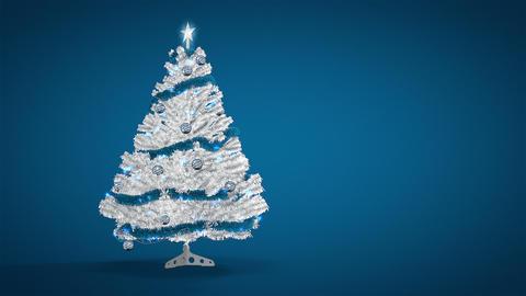 White christmas tree on blue Animation
