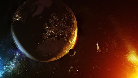 Asteroids impact over earth Animation