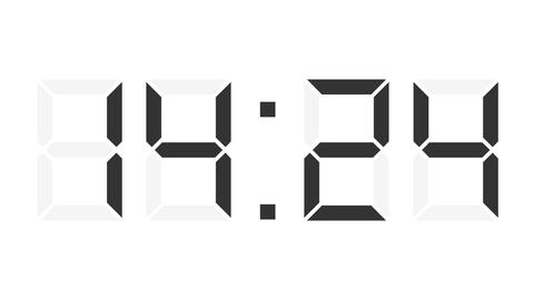 digital clock 12-24h time-lapse Animation