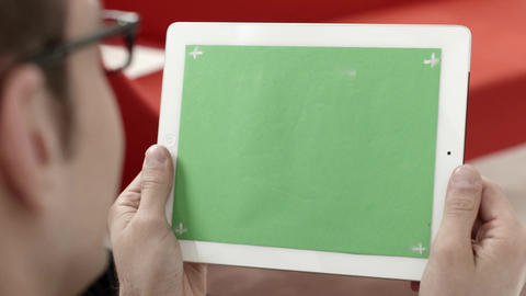 Businessman, man, manager using digital tablet pc iPad Footage