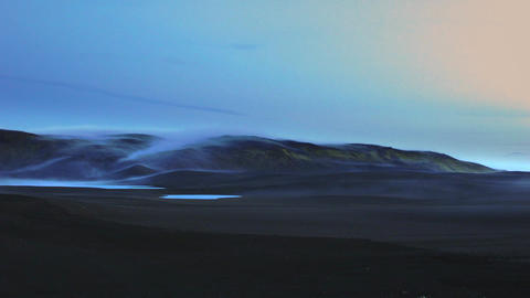 Beautiful tranquil Icelandic landscape at sunset Live Action