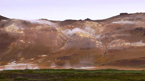 Active geothermal landscape in Hveraroend Footage