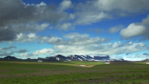 Mountain range with snow in Iceland Footage