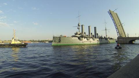 Aurora cruiser passes under bridge span Troitsky B Footage